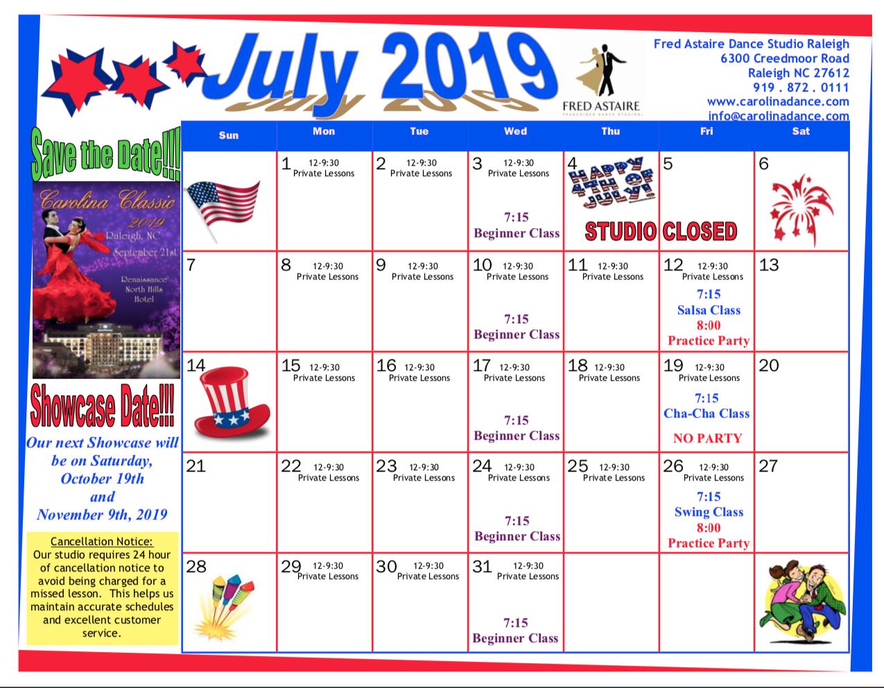 Dance Class Calendar