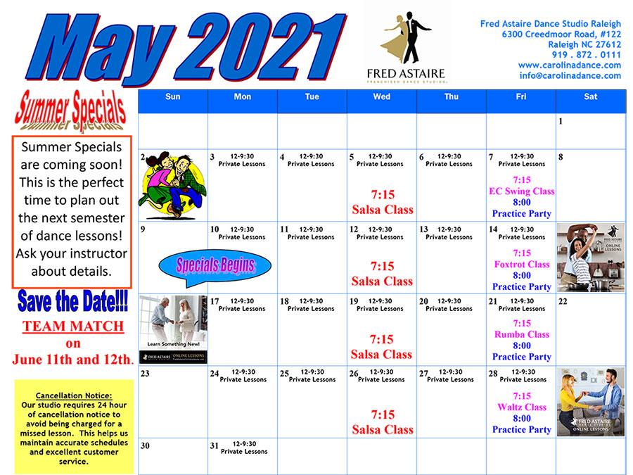 Dance Class in Raleigh Calendar